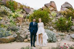 A stunning desert venue & unique wedding gown from Whitney Eve Port & Tim Rosenman at Colony 29 in Palm Springs, CA. Photo by Hannah Costello Photography