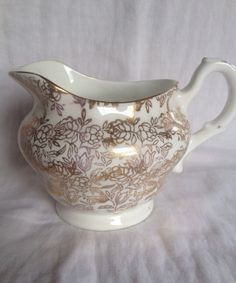 Vintage Gold fine china milk jug by PurityBelle on Etsy, €6.00