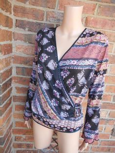 ANAC By KIMI Wrap Top Size L Women Floral Buckle Long Sleeve 100% Polyester #Anac #Wrap #Casual
