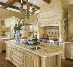 Modern french country kitchen decorating ideas (17)