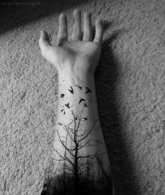 Tree & birds tattoo.