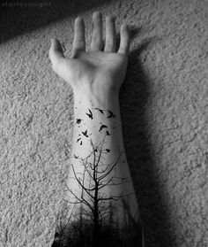 Tree  birds tattoo.