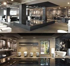 Ksl Global Group is a professional manufacturer of shop design, mall kiosks and display cases. We provides store design, shop fixtures production, quality inspection, etc. Showroom Interior Design, Furniture Showroom, Bathroom Interior Design, Kohler Showroom, Bath Showroom, Wc Design, House Design, Living Room Under Stairs, Bathroom Store