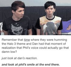 I am Phil and Dan is all my friends bc I have a low voice for being born with female vocal cords ¯\_(ツ)_/¯ Dan And Phil Memes, Phil 3, Phan Is Real, Dan And Phill, Danisnotonfire And Amazingphil, Fandoms, Tyler Oakley, British Men, Phil Lester