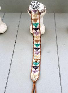 Beaded Geometric Loom woven Bracelet