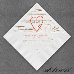 """Rustic Wedding Napkins Personalized A rustic design along with your initials inside of a heart are featured on this napkin.  Dimensions: 4 3/4"""" x 4 3/4"""" Beverage Napkin Dimensions: 6 1/2"""" x 6 1/2"""" Luncheon Napkin• Price Includes: Printed napkin • Production Time: 2 Working Days"""