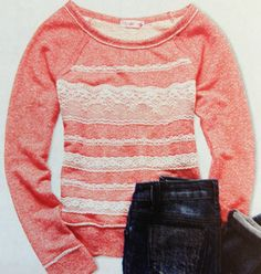 Lace sweatshirt..... NEED!!!!!! =D