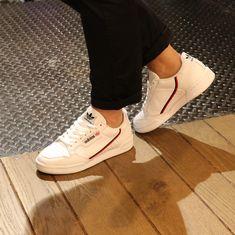 Adidas Continental 80 disponible en deux coloris Blanc et Écru disp Addidas Sneakers, Slip On Sneakers, Casual Sneakers, White Sneakers, Shoes Sneakers, Women's Shoes, Adidas Outfit, Adidas Shoes, Baskets Addidas