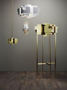 Brass floor lamp Skyline Collection by Örsjö Belysning   design Folkform