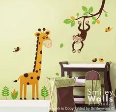 Children Kids Wall Decal Wall Art Sticker tree decal - Jungle Monkey swinging from Branch and Cute Giraffe Wall Decal