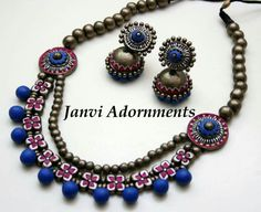 Terracotta Jewellery Online, Terracotta Jewellery Designs, Clay Earrings, Polymer Clay Jewelry, Teracotta Jewellery, Jewelry Crafts, Handmade Jewelry, Beaded Necklace Patterns, Jewelry Model