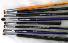 Precision little brushes!!  Top-down: Shu Uemura 5F (old), Shu Uemura 5F Sable, Crown C212, Cozzette S185, Crown C123, Crown C213, Cozzette D230, Royal & Langnikel C440