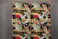 Telas japonesas - Tela Japonesa Grullas  negro/ dorado  - hecho a mano por LichtscheuBerlin en DaWanda