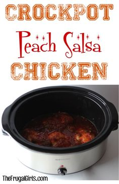 Crockpot Peach Salsa Chicken Recipe! ~ from TheFrugalGirls.com ~ this simple slow cooker dinner has just 3 ingredients and is absolutely delicious!! #slowcooker #recipes #thefrugalgirls