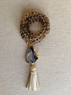 Smokey Quartz Necklace with Agate and Leather Tassel Pendant by Goldenstrand Jewelry