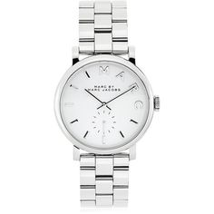 Marc by Marc Jacobs Baker Watch ($230) ❤ liked on Polyvore featuring jewelry, watches, accessories, bracelets, relojes, marc by marc jacobs, stainless steel jewelry, stainless steel jewellery, dial watches and stainless steel wrist watch