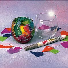 Shabbat Candles (tea lights) Centerpiece -Stained Glass Votives - glass votive candle holder + tissue paper + modge podge + silver paint pen (would be really cute for making shabbat candles)