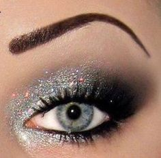 LOVE silver glitter in the corner of the eye...love this
