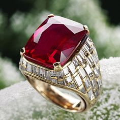 Large, fine-quality rubies are extremely rare and valuable.  Common cutting styles for ruby include mixed-cut ovals or antique cushions such as this beautiful ring