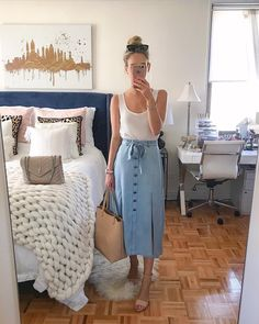 Traded in my skinny jeans for a denim midi skirt this weekend The fabric on this one is so light & soft— perf for warm days & pairs…