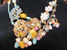 Heirloom Statement Wedding Bib Necklace from Reclaimed vintage jewelry Custom Designed for you $250
