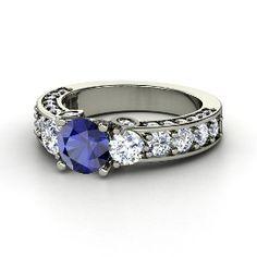 Rebecca Ring, Round Sapphire Platinum Ring with Diamond from Gemvara