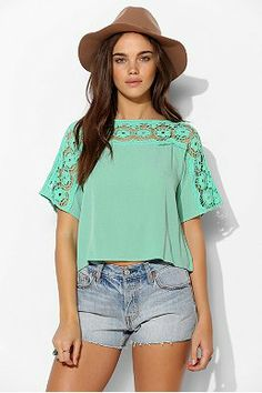 Staring At Stars Crochet-Neckline Cropped Top.  I love the detail and color of this top, but I'm not sure I can get away with a crop top!