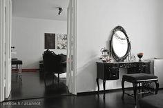 Black floors and black furniture