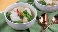 They freeze fabulously, so weeknight dinner is on the table in no time. Chicken Wontons, Frozen Peas, Chicken And Dumplings, Roasted Chicken, Healthy Chicken, Tasty Dishes, A Food, Food Processor Recipes, Easy Meals