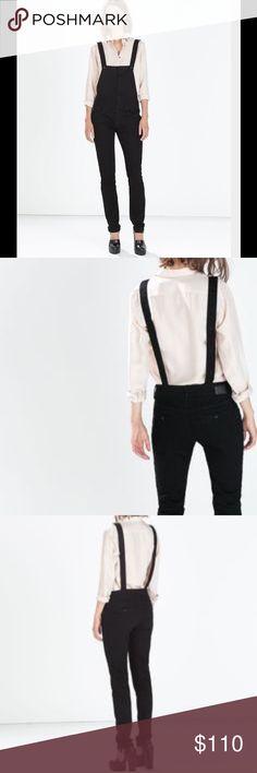 Zara Dame Overalls Distressed wash skinny denim overalls. 5-pocket style. Adjustable crisscross straps. Pocket detailing on front bib. NWOT Zara Jeans Overalls