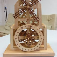 Wooden table clock Windmill