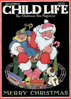 Child Life Magazine 'The Children's Own Magazine' December 1935, Cover illustration by Hazel Frazee
