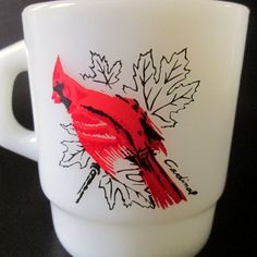 Anchor Hocking Red Cardinal Milk Glass Mug 312 Made In USA | Etsy Kitchen Dishes, Kitchen Items, Glass Coffee Mugs, Light Switch Plates, Baroque Fashion, Anchor Hocking, Womens Purses, Milk Glass, I Shop