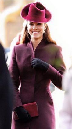 PRIVATE: London-designer Classic: silhouette tailored coat, with princess-seaming in a mulberry wool-blend. Mascaro: b/suede pumps. Mulberry: Bayswater cranberry-suede clutch. Jane Corbett: bespoke 'trilby' plum chapeau. Kiki McDonough: green-amethyst & diamond-páve oval drops (£2,600) on KM páve hoops (£500). Debut: Sandringham '11 (Christmas service).