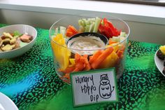 Hungry Hippo dip- healthy Birthday food. Jungle Party.