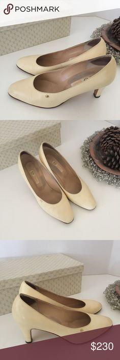 Vintage Leather Gucci Shoes Vintage Leather Gucci Shoes Size 38 1/2 converted 81/2 Color Cream  Excellent Condition for Vintage Gucci Shoes Some signs of Wear very minor unless up up close. Very beautiful shoes and they make your feet look beautiful elegant classy Shoes. Also comes with original box well cared for. :) Gucci Shoes Heels