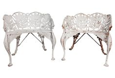 Lilly & Griffin Iron Chairs, Pair