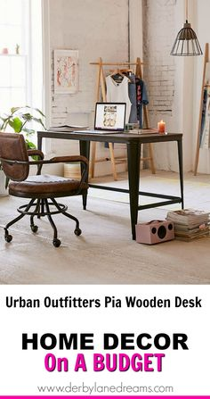 Love this Desk!  Perfect industrial design for the office, bedroom, or craft room.   #homedecor #home #diyhomedecor #ad #interiordesign #interior #industrial #simple #vintage #budget #affordable #cheap #office #apartment #livingroom #ideas #art