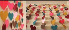 Cortina de corações coloridos
