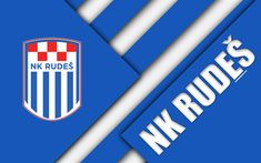 Download wallpapers NK Rudes, 4k, white blue abstraction, logo, material design, Croatian football club, Zagreb, Croatia, Prva HNL, football, Croatian First Football League