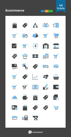 Ecommerce  Icon Pack - 48 Solid Icons