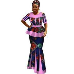 Africa Bazin Riche Dresses for Women Women Long Sleeve Tops long skirt set African Fashion Ankara, Latest African Fashion Dresses, African Print Fashion, Africa Fashion, African Dresses For Women, African Attire, African Wear, Long Skirt Outfits For Summer, Traditional African Clothing