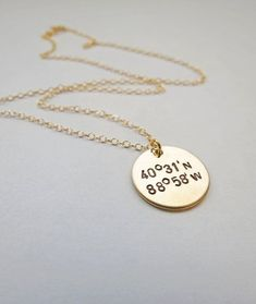Unique gold necklace with longitude and latitude coordinates for long distance relationships! Boyfriends destination!