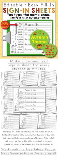 Editable Print-Practice Weekly Sign In Sheets - Autumn Theme. You can use this Adobe PDF template to make a personalized sign in sheet for every student in the class in minutes. Preschool Names, Name Activities, Preschool Literacy, Kindergarten Writing, Preschool Lessons, Kindergarten Classroom, Classroom Ideas, Writing Activities, Preschool Sign In Ideas