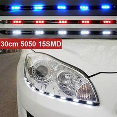 최신 2 개 x 30 센치메터 5050 15 smd DRL 주차 led 자동차 스타일링 유연한 LED 낮 실행 조명 방수 화이트 블루 레드