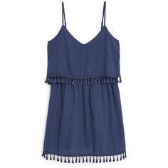 Mango Double layer dress (385 GTQ) ❤ liked on Polyvore featuring dresses, vestidos, tops, casual dress, blue, clearance, tassel dress, cotton dress, blue cotton dress and v neck cotton dress
