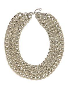 Silver Triple Chain Necklace $34