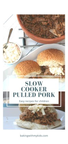 This easy slow cooker pulled pork is so succulent as well as simple to make. It's the perfect family meal. #slow cooker #crock pot #pulled pork #crock pot recipes #recipes #easy #for kids #bbq # Quick Weeknight Dinners, Easy Family Dinners, Family Meals, Kids Meals, Easy Meals, Pork Casserole, Cooking Ingredients, Pulled Pork, Slow Cooker Recipes
