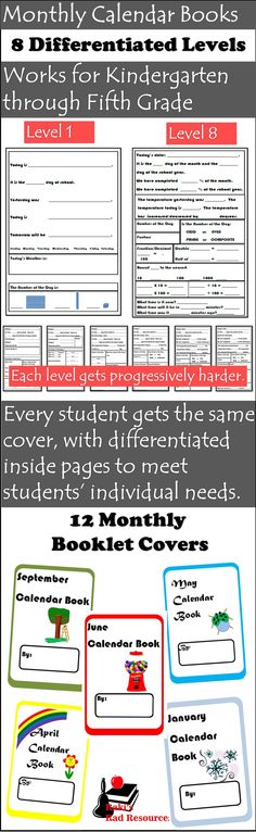 Contains 12 monthly calendar book covers and 8 differentiated levels of learning pages, which span from Kinder through 5th grade. Choose the level that meets the needs of your students, and adjust the level during the school year. Each level covers similar topics, so you can even have different students within the same class working on different levels. Great for multiage classrooms and homeschooling families, but works well for single level classrooms as well. Entire packet is just $10.00