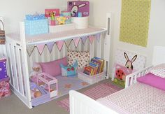 DIY Playhouse from a Crib. It will do wonders with your kid's imagination and cost less than one third of store bought playhouses !